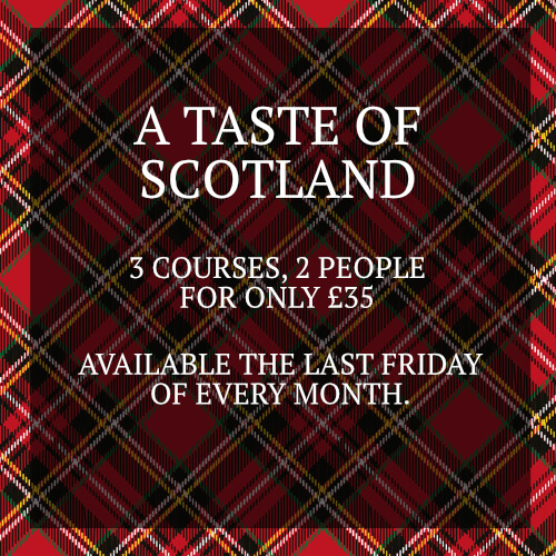 Taste of Scotland - 3 courses for 2 people for only £35.